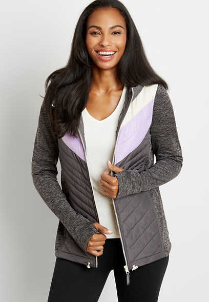 Gray Chevron Hooded Zip Up Jacket