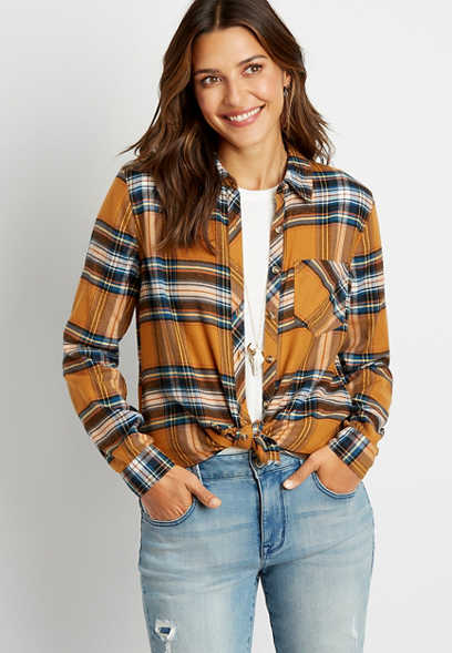Gold Plaid Button Down Long Sleeve Flannel Shirt