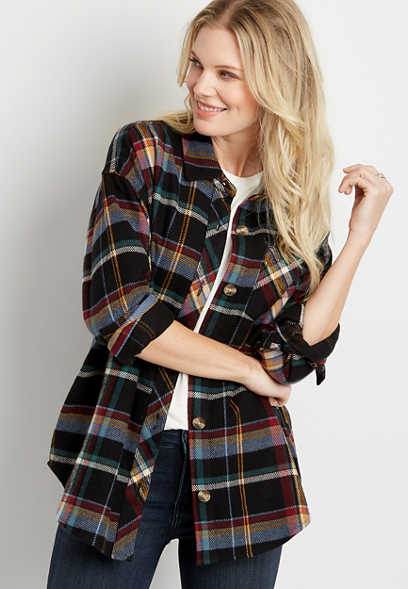 Black Plaid Button Down Long Sleeve Oversized Flannel Shacket