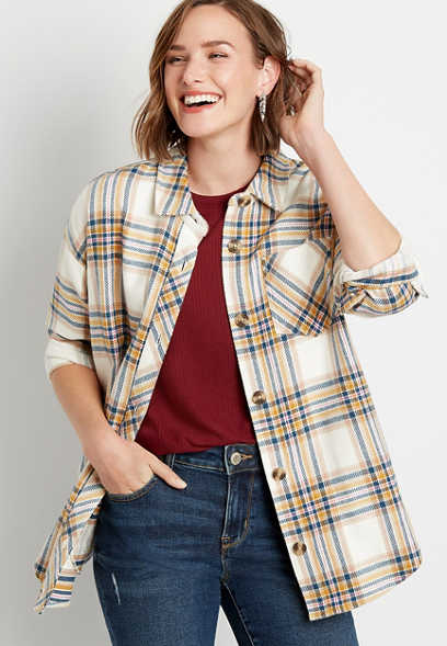 White Plaid Button Down Long Sleeve Oversized Flannel Shacket
