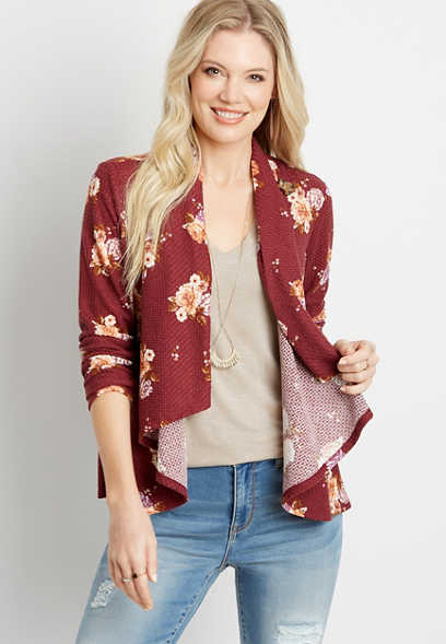 Red Floral Asymmetrical Cardigan