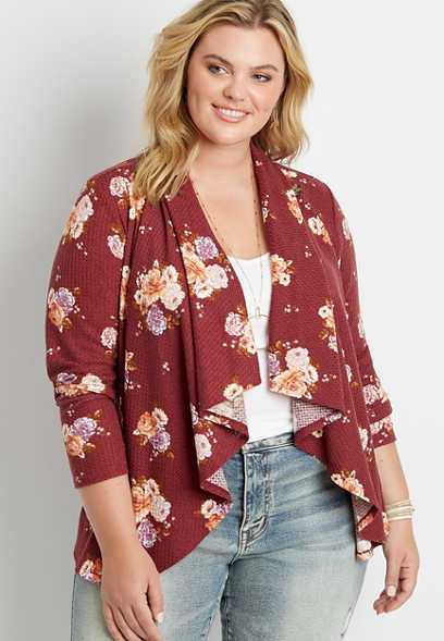 Plus Size Red Floral Asymmetrical Cardigan