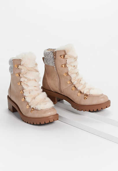Cassie Faux Fur Trim Knit Collar Hiker Boot