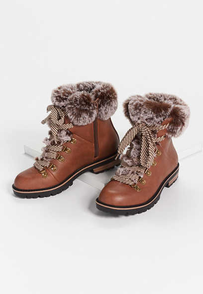 Clara Cognac Faux Fur Collar Hiker Boot