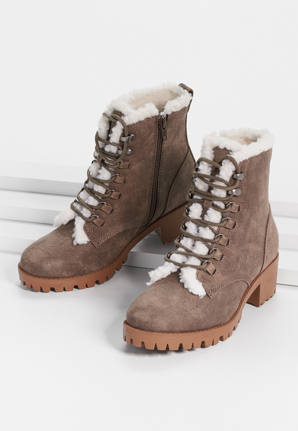 Ciara Sherpa Lined Heeled Hiker Boot | maurices
