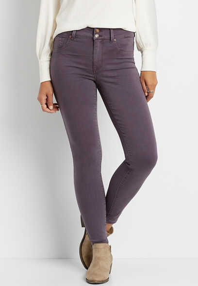 High Rise Plum Double Button Jegging Made With REPREVE®
