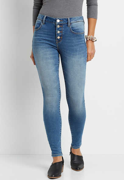 DenimFlex™ High Rise Medium Wash Button Fly Super Soft Jegging