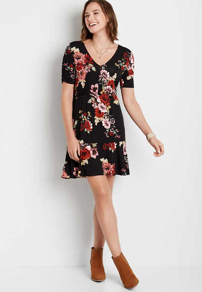 Black Floral Cinched Sleeve Mini Dress