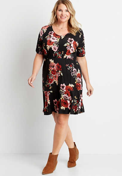 Plus Size Black Floral Cinched Sleeve Mini Dress