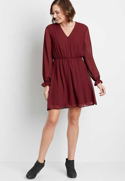 Berry Button Front Long Sleeve Mini Dress