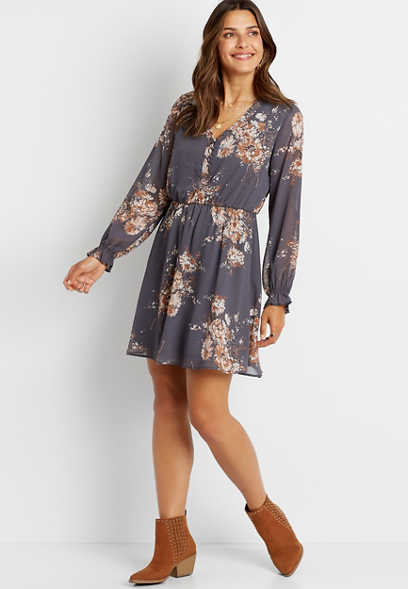 Gray Floral Button Front Long Sleeve Mini Dress