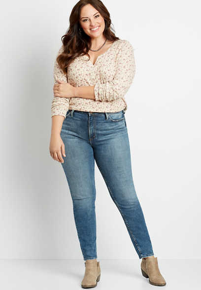 Plus Size Silver Jeans Co.® High Note High Rise Dark Wash Skinny Jean