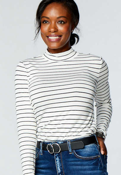 24/7 Stripe Mock Neck Long Sleeve Tee