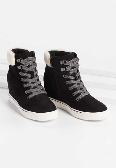 Tallia Black Sherpa Collar Sneaker Wedge