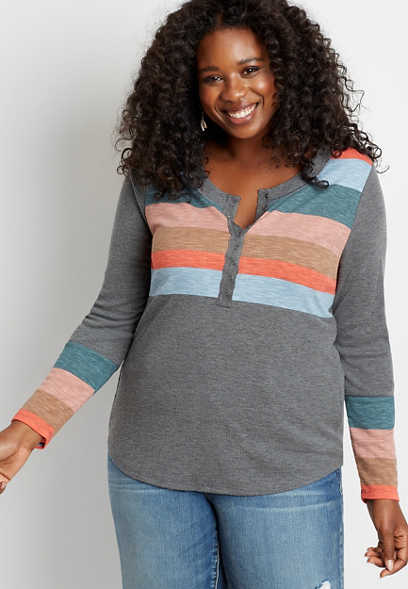 Plus Size 24/7 Stripe Long Sleeve Henley Tee