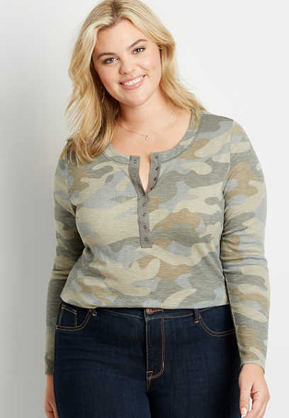 Plus Size 24/7 Camo Long Sleeve Henley Fitted Tee