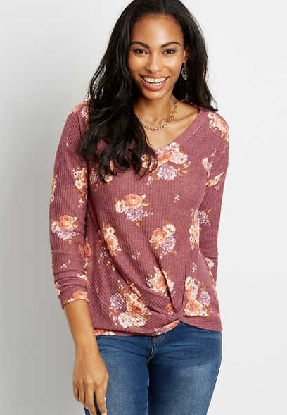24/7 Berry Floral Twisted Hem Long Sleeve Tee