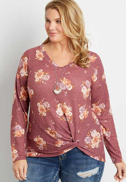 Plus Size 24/7 Berry Floral Twisted Hem Long Sleeve Tee