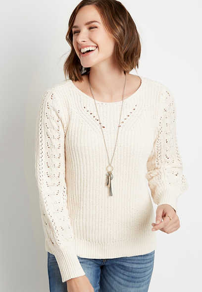 Chenille Pointelle Sleeve Pullover Sweater