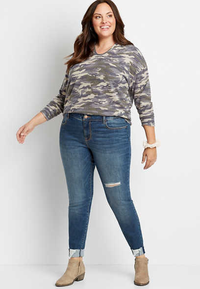 Plus Size DenimFlex™ Medium Destructed Cuffed Jegging