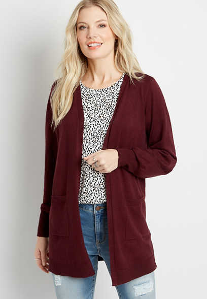 Solid Blouson Sleeve Open Front Cardigan