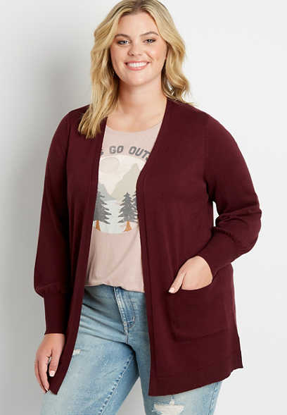 Plus Size Solid Blouson Sleeve Open Front Cardigan