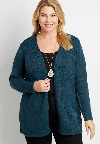 Plus Size Solid Sequin Open Front Cardigan