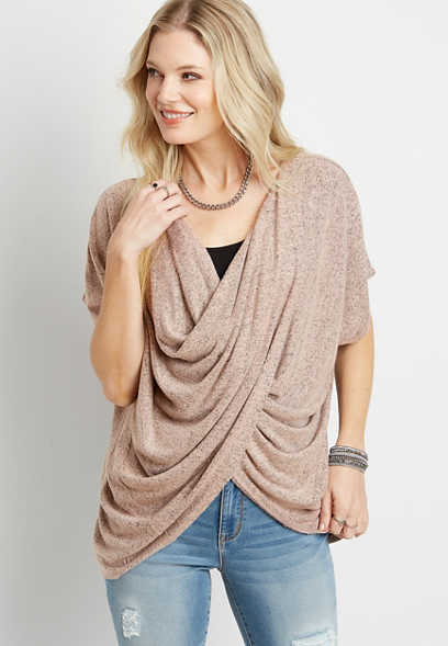 Solid Wrap Front Short Sleeve Top