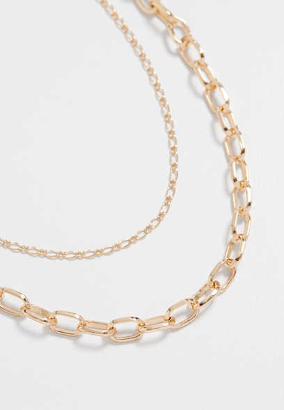Gold Double Row Layered Chain Necklace