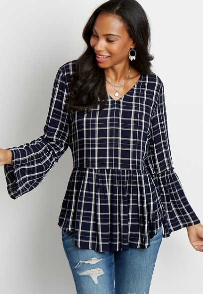 Blue Plaid Bell Sleeve Peplum Tunic Top