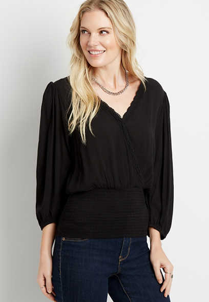 Black Smocked Bottom Long Sleeve Top