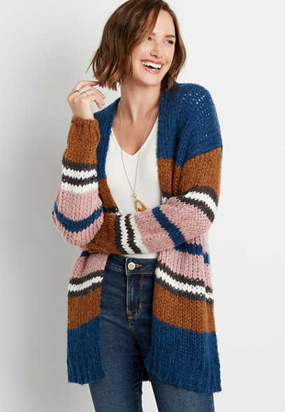 Oversized Striped Cardigan