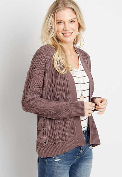 Lace Up Side Cardigan