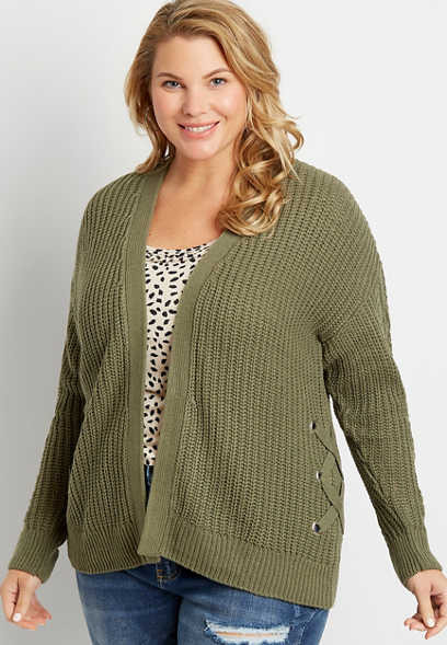 Plus Size Green Lace Up Side Open Front Cardigan
