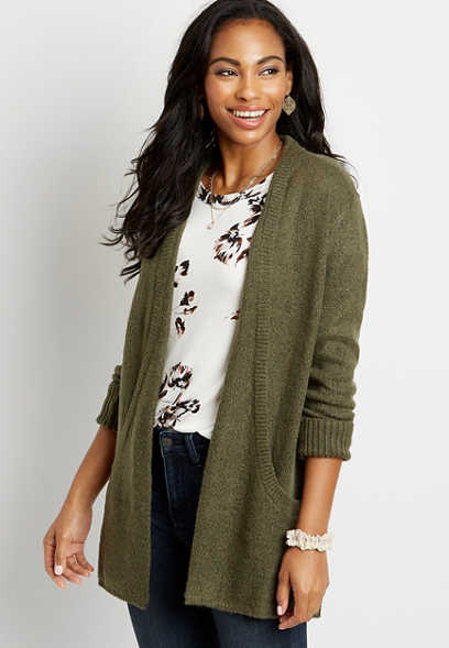 Solid Brushed Open Front Pocket Cardigan