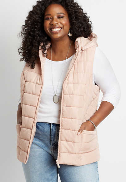 Plus Size Pink Hooded Puffer Vest