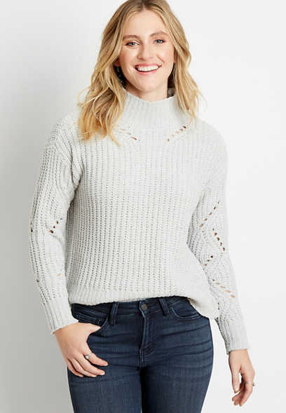 Solid Chenille Mock Neck Pullover Sweater
