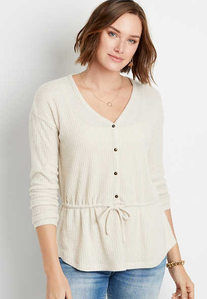 Solid Button Front Tie Waist Top