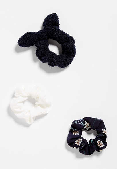 3 Pack Navy Scrunchie Set