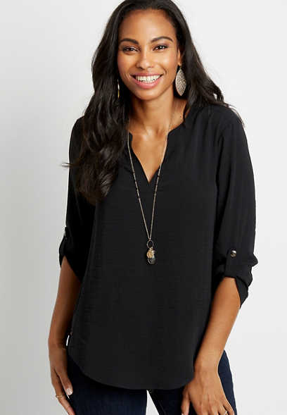 Solid Black V Neck Popover Blouse