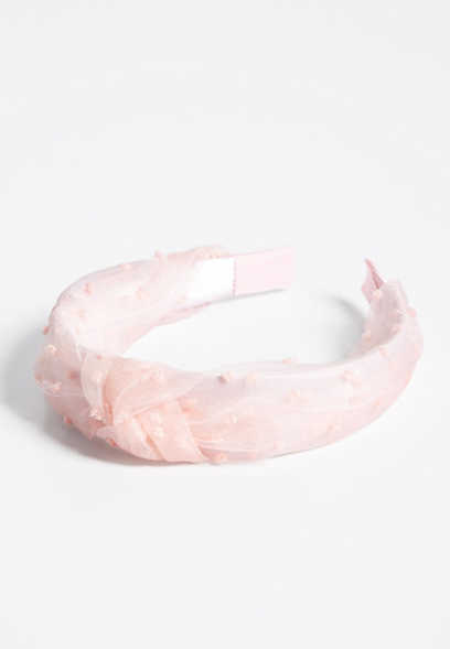 Blush Swiss Dot Knotted Headband