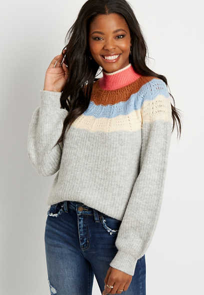 Ombre Mock Neck Pullover Sweater