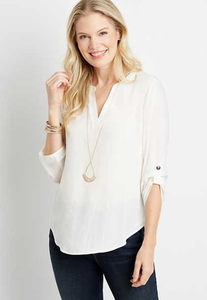 Solid White V Neck Popover Blouse