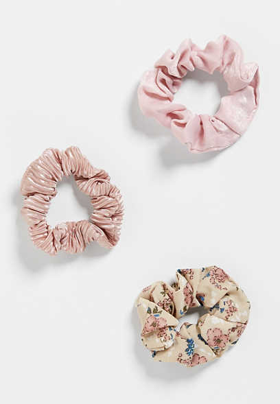 3 Pack Pink Scrunchie Set