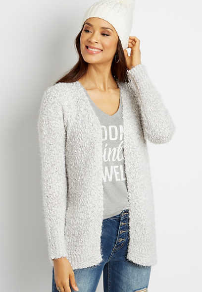 Solid Cozy Open Front Cardigan