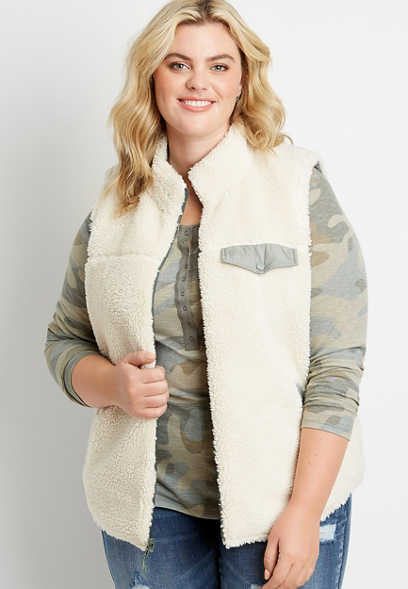 Plus Size Green Reversible Sherpa Zip Up Vest