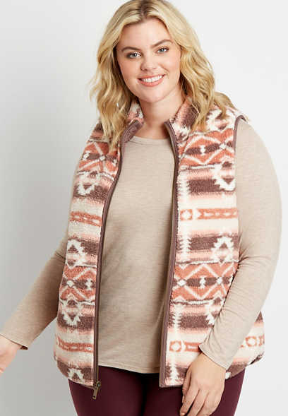 Plus Size Printed Reversible Sherpa Zip Up Vest