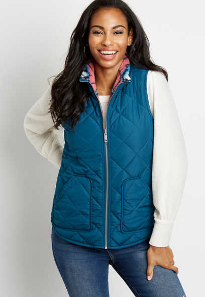 Blue Printed Reversible Sherpa Zip Up Vest