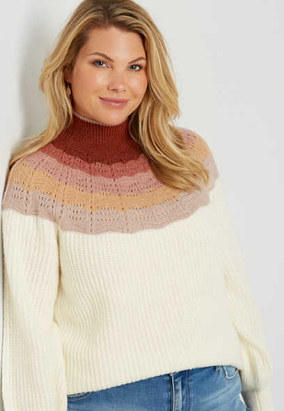 Plus Size Ombre Mock Neck Pullover Sweater
