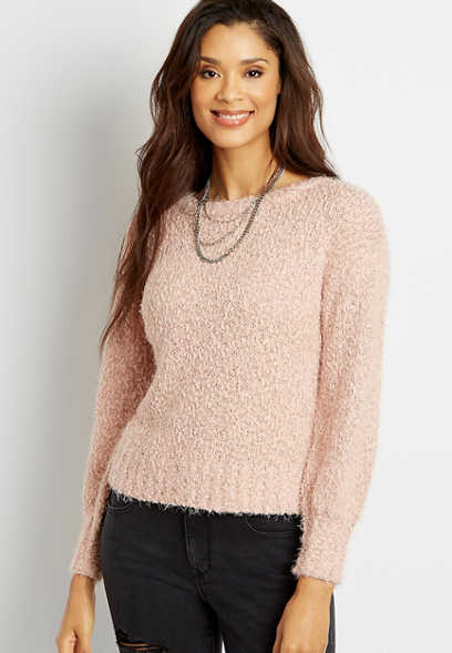 Solid Cozy Lantern Sleeve Pullover Sweater